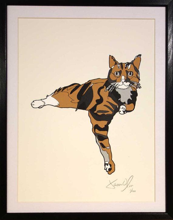Cat Work on paper by Jason Oliva
