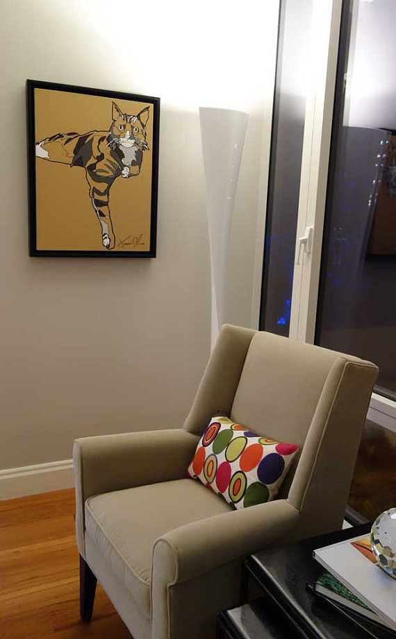 Cat Portrait Jason Oliva hanging in NYC